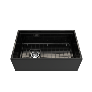 "BOCCHI Contempo Apron Front Workstation Step Rim Fireclay 30"" Single Bowl Kitchen Sink with Protective Bottom Grid and Strainer 1344-005-0120 Black"