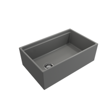 "Load image into Gallery viewer, BOCCHI Contempo Apron Front Workstation Step Rim Fireclay 30"" Single Bowl Kitchen Sink with Protective Bottom Grid and Strainer 1344-006-0120 Matte Gray"