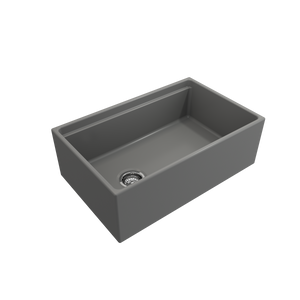 "BOCCHI Contempo Apron Front Workstation Step Rim Fireclay 30"" Single Bowl Kitchen Sink with Protective Bottom Grid and Strainer 1344-006-0120 Matte Gray"