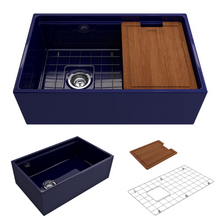 "Load image into Gallery viewer, BOCCHI Contempo Apron Front Workstation Step Rim Fireclay 30"" Single Bowl Kitchen Sink with Protective Bottom Grid and Strainer 1344-010-0120 Sapphire Blue"