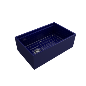 "BOCCHI Contempo Apron Front Workstation Step Rim Fireclay 30"" Single Bowl Kitchen Sink with Protective Bottom Grid and Strainer 1344-010-0120 Sapphire Blue"
