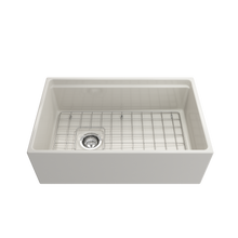 "Load image into Gallery viewer, BOCCHI Contempo Apron Front Workstation Step Rim Fireclay 30"" Single Bowl Kitchen Sink with Protective Bottom Grid and Strainer 1344-014-0120 Biscuit"
