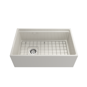 "BOCCHI Contempo Apron Front Workstation Step Rim Fireclay 30"" Single Bowl Kitchen Sink with Protective Bottom Grid and Strainer 1344-014-0120 Biscuit"