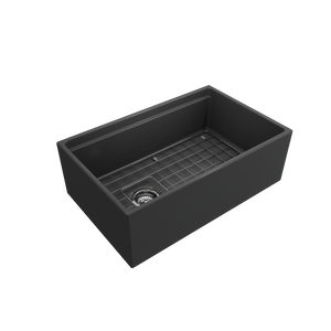 "BOCCHI Contempo Apron Front Workstation Step Rim Fireclay 30"" Single Bowl Kitchen Sink with Protective Bottom Grid and Strainer 1344-020-0120 Matte Dark Gray"