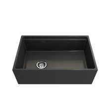 "Load image into Gallery viewer, BOCCHI Contempo Apron Front Workstation Step Rim Fireclay 30"" Single Bowl Kitchen Sink with Protective Bottom Grid and Strainer 1344-020-0120 Matte Dark Gray"