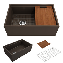 "Load image into Gallery viewer, BOCCHI Contempo Apron Front Workstation Step Rim Fireclay 30"" Single Bowl Kitchen Sink with Protective Bottom Grid and Strainer 1344-025-0120 Matte Brown"