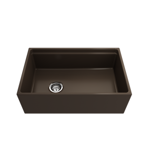 "BOCCHI Contempo Apron Front Workstation Step Rim Fireclay 30"" Single Bowl Kitchen Sink with Protective Bottom Grid and Strainer 1344-025-0120 Matte Brown"