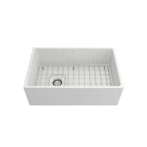 "BOCCHI Contempo Apron Front Fireclay 30"" Single Bowl Kitchen Sink with Protective Bottom Grid and Strainer 1346-001-0120 White"
