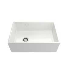 "Load image into Gallery viewer, BOCCHI Contempo Apron Front Fireclay 30"" Single Bowl Kitchen Sink with Protective Bottom Grid and Strainer 1346-001-0120 White"