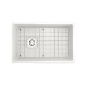 "BOCCHI Contempo Apron Front Fireclay 30"" Single Bowl Kitchen Sink with Protective Bottom Grid and Strainer 1346-002-0120 Matte White"