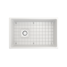 "Load image into Gallery viewer, BOCCHI Contempo Apron Front Fireclay 30"" Single Bowl Kitchen Sink with Protective Bottom Grid and Strainer 1346-002-0120 Matte White"