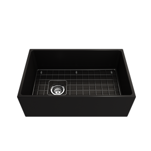 "BOCCHI Contempo Apron Front Fireclay 30"" Single Bowl Kitchen Sink with Protective Bottom Grid and Strainer 1346-004-0120 Matte Black"