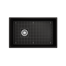 "Load image into Gallery viewer, BOCCHI Contempo Apron Front Fireclay 30"" Single Bowl Kitchen Sink with Protective Bottom Grid and Strainer 1346-004-0120 Matte Black"