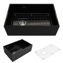 "Load image into Gallery viewer, BOCCHI Contempo Apron Front Fireclay 30"" Single Bowl Kitchen Sink with Protective Bottom Grid and Strainer 1346-005-0120 Black"