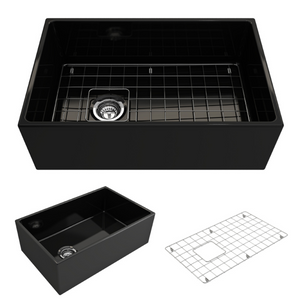 "BOCCHI Contempo Apron Front Fireclay 30"" Single Bowl Kitchen Sink with Protective Bottom Grid and Strainer 1346-005-0120 Black"