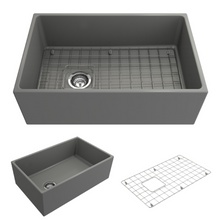 "Load image into Gallery viewer, BOCCHI Contempo Apron Front Fireclay 30"" Single Bowl Kitchen Sink with Protective Bottom Grid and Strainer 1346-006-0120 Matte Gray"