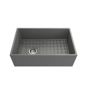 "BOCCHI Contempo Apron Front Fireclay 30"" Single Bowl Kitchen Sink with Protective Bottom Grid and Strainer 1346-006-0120 Matte Gray"