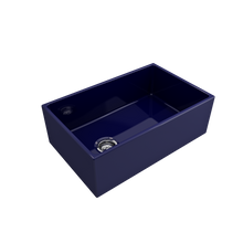 "Load image into Gallery viewer, BOCCHI Contempo Apron Front Fireclay 30"" Single Bowl Kitchen Sink with Protective Bottom Grid and Strainer 1346-010-0120 Sapphire Blue"