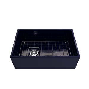 "BOCCHI Contempo Apron Front Fireclay 30"" Single Bowl Kitchen Sink with Protective Bottom Grid and Strainer 1346-010-0120 Sapphire Blue"
