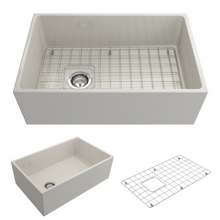"Load image into Gallery viewer, BOCCHI Contempo Apron Front Fireclay 30"" Single Bowl Kitchen Sink with Protective Bottom Grid and Strainer 1346-014-0120 Biscuit"