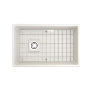 "BOCCHI Contempo Apron Front Fireclay 30"" Single Bowl Kitchen Sink with Protective Bottom Grid and Strainer 1346-014-0120 Biscuit"