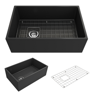 "BOCCHI Contempo Apron Front Fireclay 30"" Single Bowl Kitchen Sink with Protective Bottom Grid and Strainer 1346-020-0120 Matte Dark Gray"