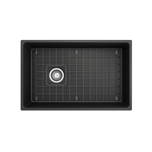 "Load image into Gallery viewer, BOCCHI Contempo Apron Front Fireclay 30"" Single Bowl Kitchen Sink with Protective Bottom Grid and Strainer 1346-020-0120 Matte Dark Gray"