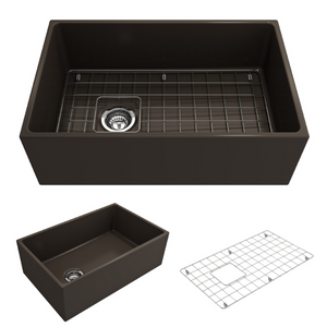 "BOCCHI Contempo Apron Front Fireclay 30"" Single Bowl Kitchen Sink with Protective Bottom Grid and Strainer 1346-025-0120 Matte Brown"
