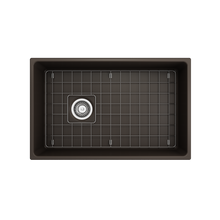 "Load image into Gallery viewer, BOCCHI Contempo Apron Front Fireclay 30"" Single Bowl Kitchen Sink with Protective Bottom Grid and Strainer 1346-025-0120 Matte Brown"