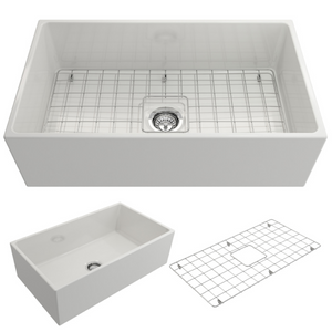 "BOCCHI Contempo Apron Front Fireclay 33"" Single Bowl Kitchen Sink with Protective Bottom Grid and Strainer 1352-001-0120 White"
