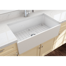 "Load image into Gallery viewer, BOCCHI Contempo Apron Front Fireclay 33"" Single Bowl Kitchen Sink with Protective Bottom Grid and Strainer 1352-001-0120 White"