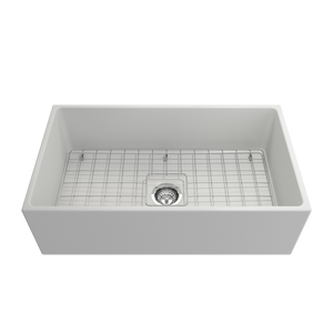 "BOCCHI Contempo Apron Front Fireclay 33"" Single Bowl Kitchen Sink with Protective Bottom Grid and Strainer 1352-002-0120 Matte White"