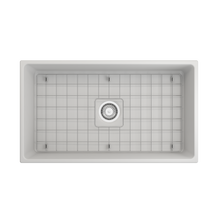 "Load image into Gallery viewer, BOCCHI Contempo Apron Front Fireclay 33"" Single Bowl Kitchen Sink with Protective Bottom Grid and Strainer 1352-002-0120 Matte White"