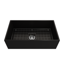 "Load image into Gallery viewer, BOCCHI Contempo Apron Front Fireclay 33"" Single Bowl Kitchen Sink with Protective Bottom Grid and Strainer 1352-004-0120 Matte Black"