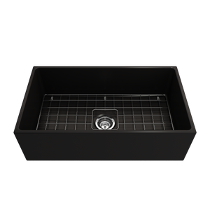 "BOCCHI Contempo Apron Front Fireclay 33"" Single Bowl Kitchen Sink with Protective Bottom Grid and Strainer 1352-004-0120 Matte Black"