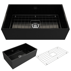 "BOCCHI Contempo Apron Front Fireclay 33"" Single Bowl Kitchen Sink with Protective Bottom Grid and Strainer 1352-005-0120 Black"