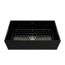 "Load image into Gallery viewer, BOCCHI Contempo Apron Front Fireclay 33"" Single Bowl Kitchen Sink with Protective Bottom Grid and Strainer 1352-005-0120 Black"