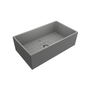 "BOCCHI Contempo Apron Front Fireclay 33"" Single Bowl Kitchen Sink with Protective Bottom Grid and Strainer 1352-006-0120 Matte Gray"
