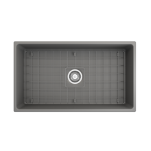 "Load image into Gallery viewer, BOCCHI Contempo Apron Front Fireclay 33"" Single Bowl Kitchen Sink with Protective Bottom Grid and Strainer 1352-006-0120 Matte Gray"