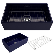 "Load image into Gallery viewer, BOCCHI Contempo Apron Front Fireclay 33"" Single Bowl Kitchen Sink with Protective Bottom Grid and Strainer 1352-010-0120 Sapphire Blue"