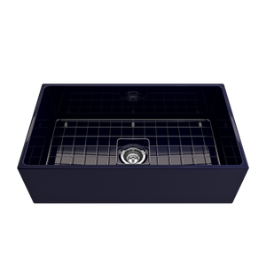"BOCCHI Contempo Apron Front Fireclay 33"" Single Bowl Kitchen Sink with Protective Bottom Grid and Strainer 1352-010-0120 Sapphire Blue"