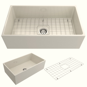 "BOCCHI Contempo Apron Front Fireclay 33"" Single Bowl Kitchen Sink with Protective Bottom Grid and Strainer 1352-014-0120 Biscuit"