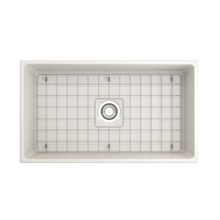 "Load image into Gallery viewer, BOCCHI Contempo Apron Front Fireclay 33"" Single Bowl Kitchen Sink with Protective Bottom Grid and Strainer 1352-014-0120 Biscuit"