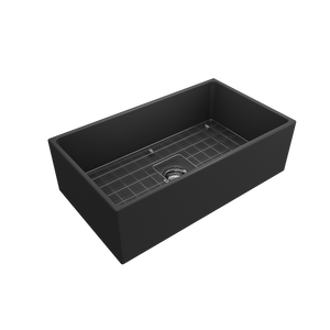 "BOCCHI Contempo Apron Front Fireclay 33"" Single Bowl Kitchen Sink with Protective Bottom Grid and Strainer 1352-020-0120 Matte Dark Gray"