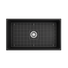 "Load image into Gallery viewer, BOCCHI Contempo Apron Front Fireclay 33"" Single Bowl Kitchen Sink with Protective Bottom Grid and Strainer 1352-020-0120 Matte Dark Gray"