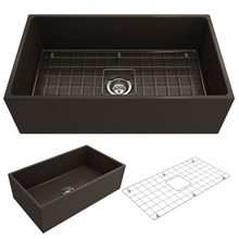 "Load image into Gallery viewer, BOCCHI Contempo Apron Front Fireclay 33"" Single Bowl Kitchen Sink with Protective Bottom Grid and Strainer 1352-025-0120 Matte Brown"