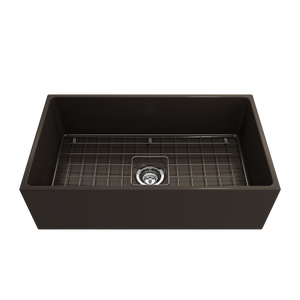 "BOCCHI Contempo Apron Front Fireclay 33"" Single Bowl Kitchen Sink with Protective Bottom Grid and Strainer 1352-025-0120 Matte Brown"
