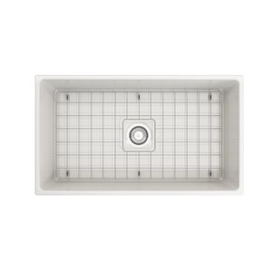 "Vigneto Apron Front Fireclay 33"" Single Bowl Kitchen Sink with Protective Bottom Grid and Strainer"