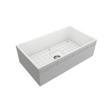 "Load image into Gallery viewer, Vigneto Apron Front Fireclay 33"" Single Bowl Kitchen Sink with Protective Bottom Grid and Strainer"