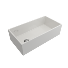"Load image into Gallery viewer, BOCCHI Contempo Apron Front Fireclay 36"" Single Bowl Kitchen Sink with Protective Bottom Grid and Strainer 1354-001-0120 White"